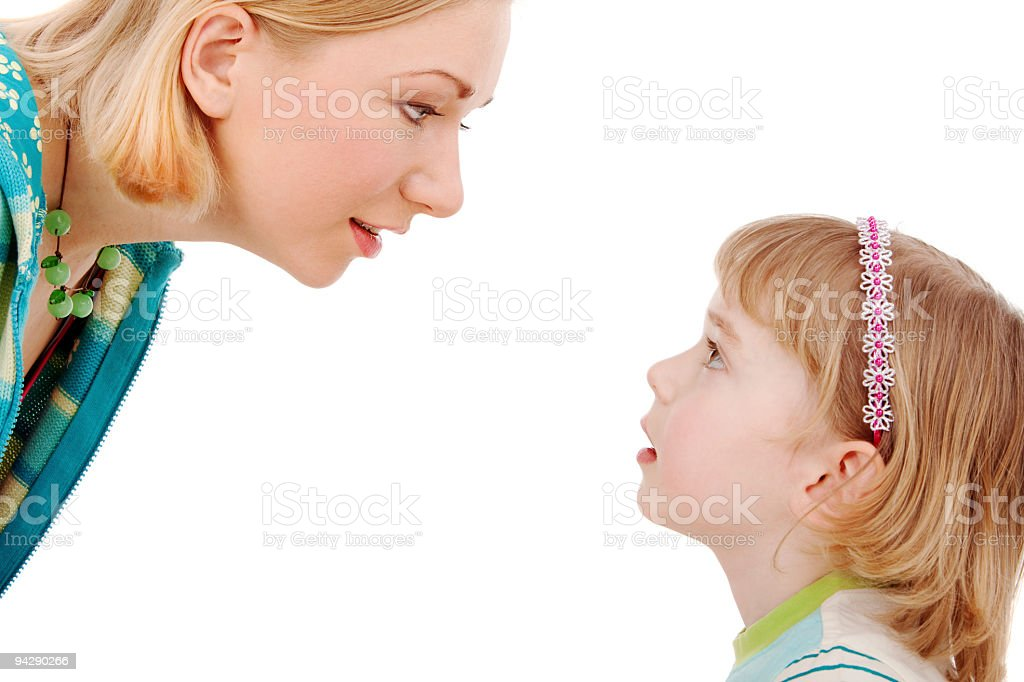 Isolated picture of a mother and daughter stock photo