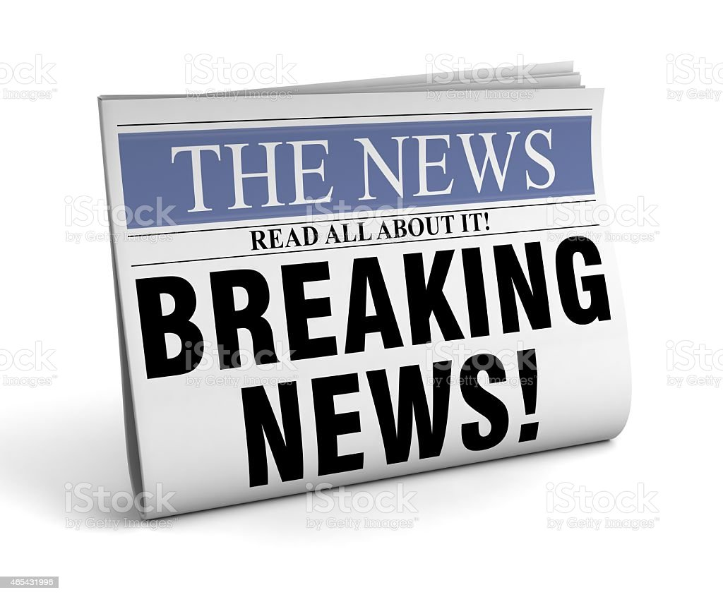 Isolated picture of a newspaper depicting breaking news stock photo