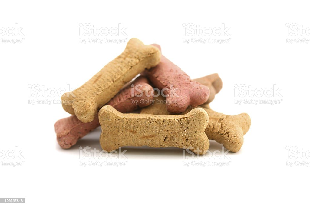Isolated picture of a pile of dog biscuits royalty-free stock photo