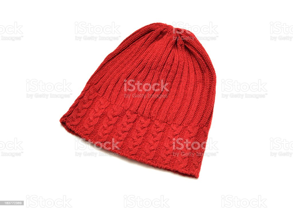 Isolated picture of a red toque hat stock photo