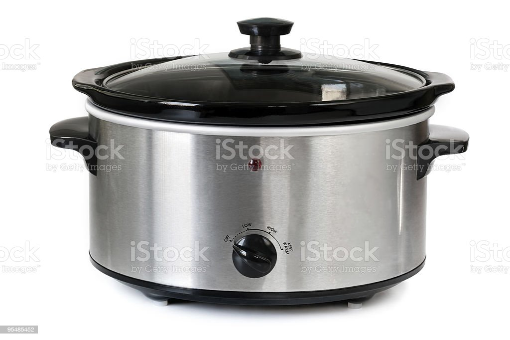 Isolated picture of a silver crock pot stock photo