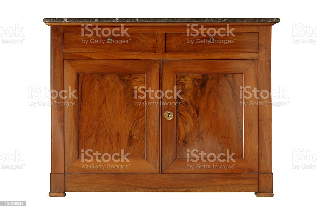 Isolated picture of an old wooden sideboard stock photo