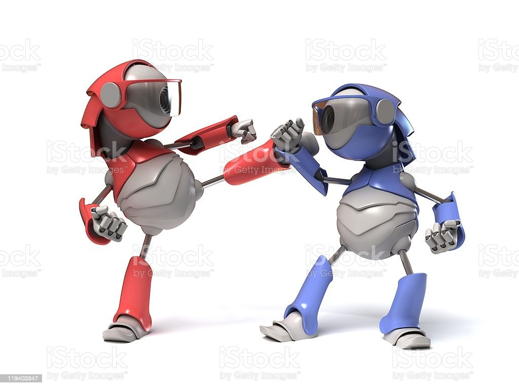 Isolated picture of blue and red robots fighting each other stock photo