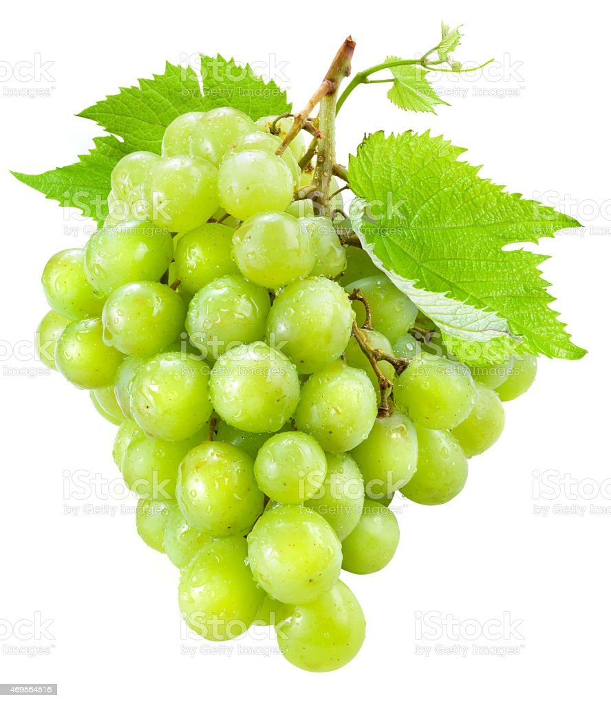 Isolated picture of fresh green grapes with leaves stock photo