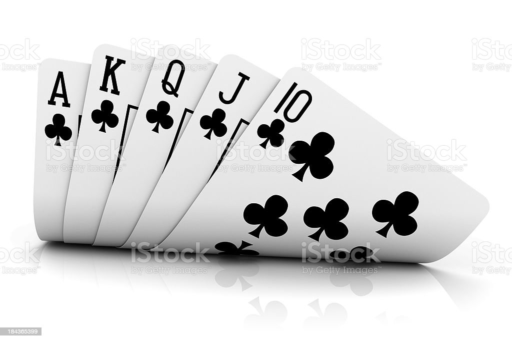 Isolated picture of poker cards showing a royal flush stock photo