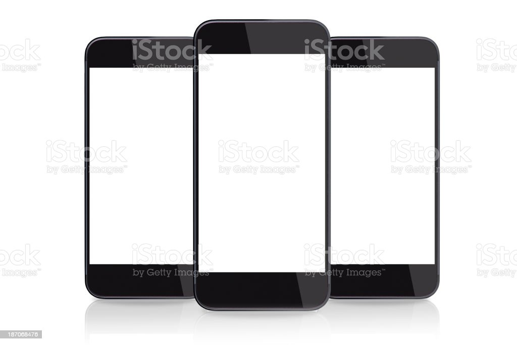 Isolated picture of three smart phones with blank screens stock photo