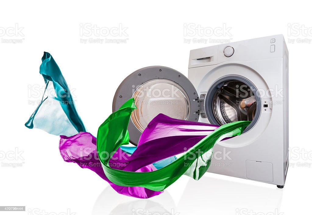 Isolated picture of washing machine with flowing clothes stock photo