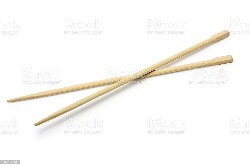 Isolated picture of wooden chopsticks stock photo