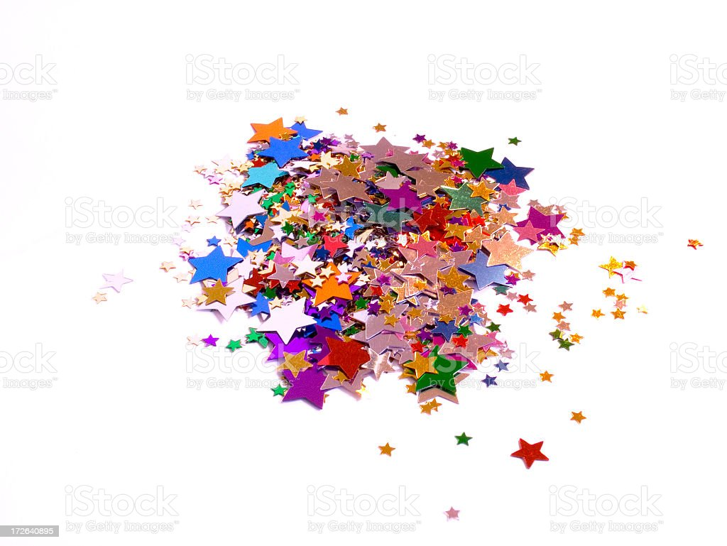 Isolated Pile of Metallic Craft Stars royalty-free stock photo