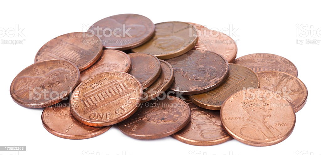 Isolated Pile of Pennies royalty-free stock photo