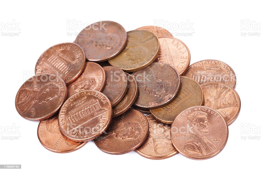 Isolated Pile of Pennies stock photo