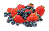 Isolated Pile of strawberries and blueberries
