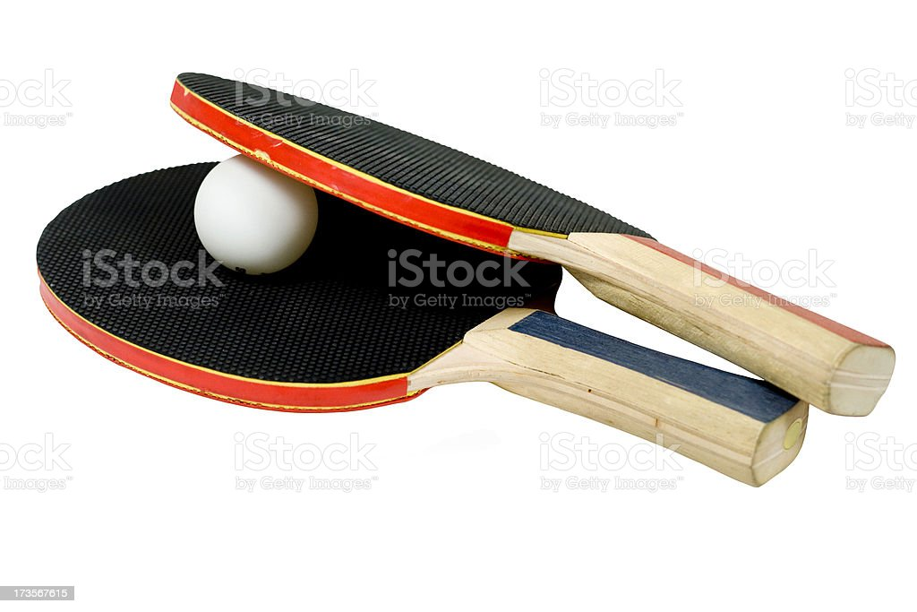 Isolated Ping Pong Paddles and Ball royalty-free stock photo