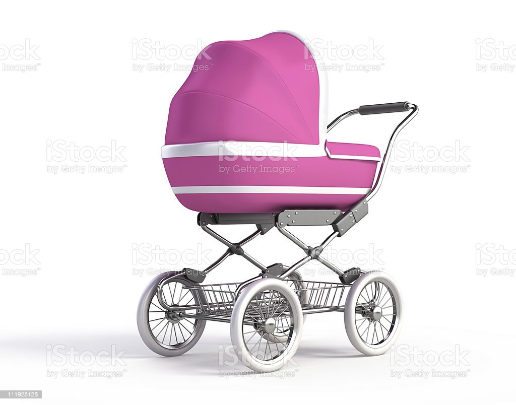 Isolated pink baby carriage on white stock photo