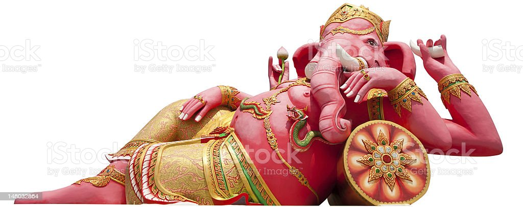 isolated Pink ganecha statue  with clipping path royalty-free stock photo