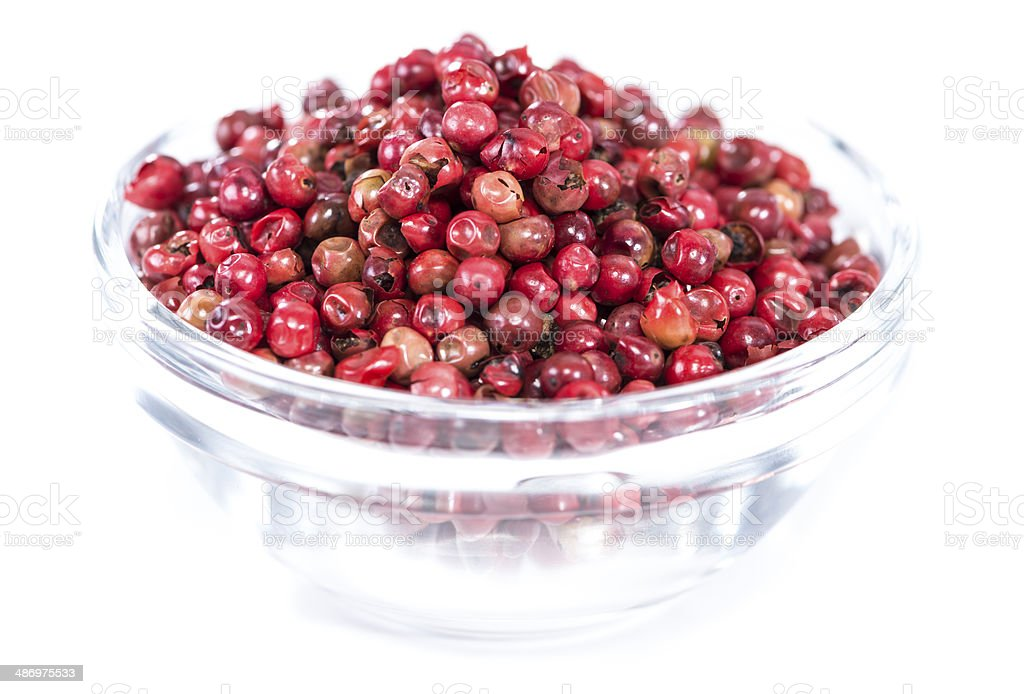 Isolated Pink Peppercorns (in a bowl) royalty-free stock photo