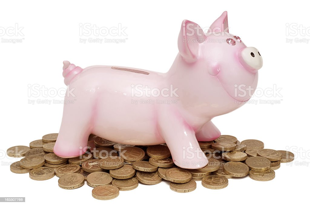 Isolated pink piggy bank with coins royalty-free stock photo