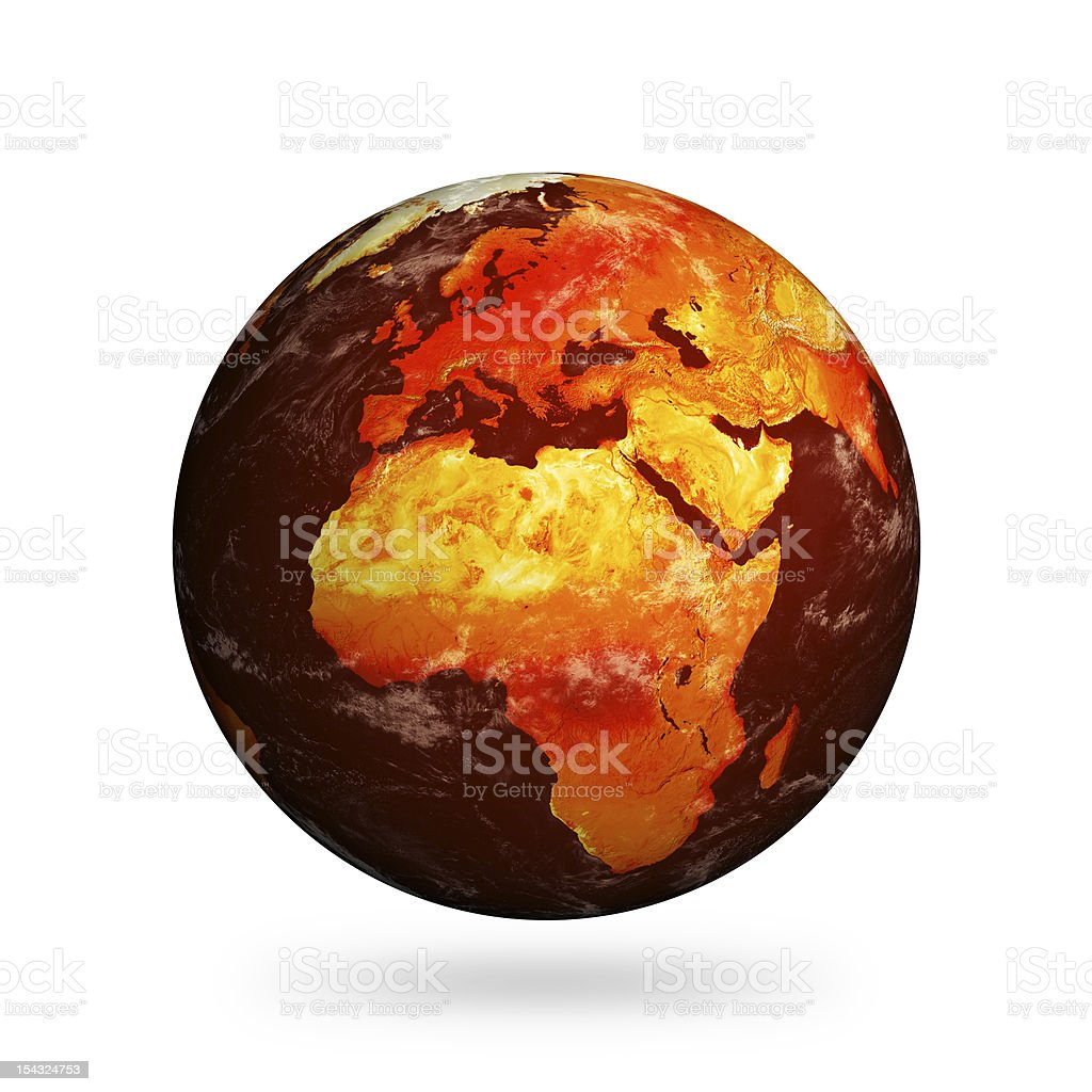 Isolated Planet Earth showing Europe and Africa with Global Warming stock photo