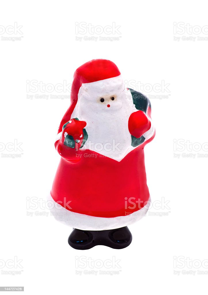 Isolated Porcelain Christmas Figurine: Santa Claus stock photo