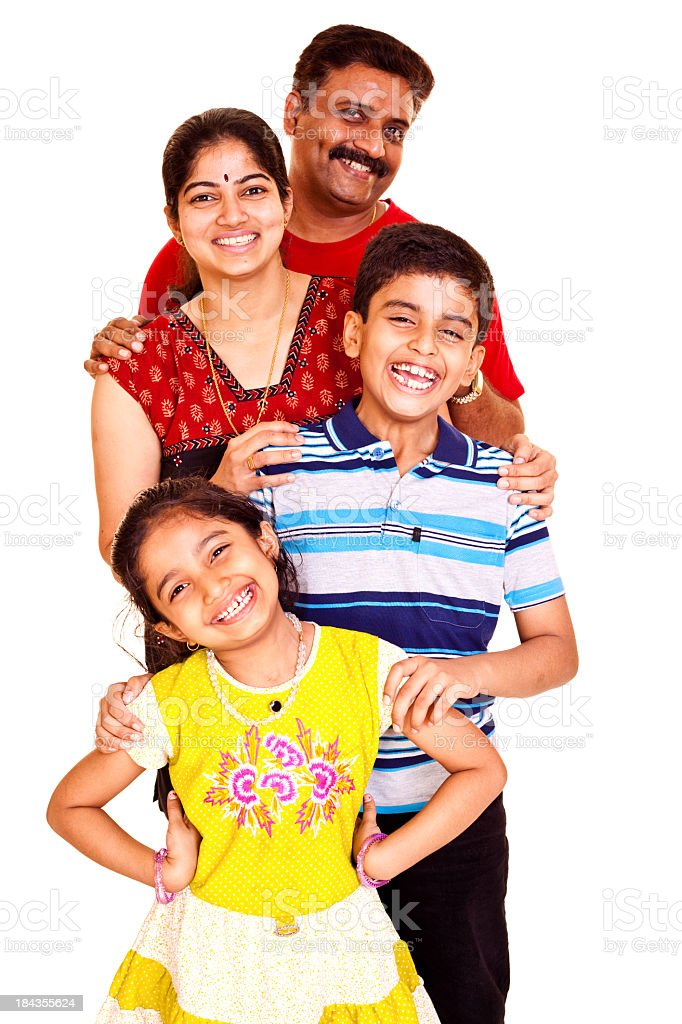 Isolated Portrait of a Cheerful South Indian Asian Family stock photo
