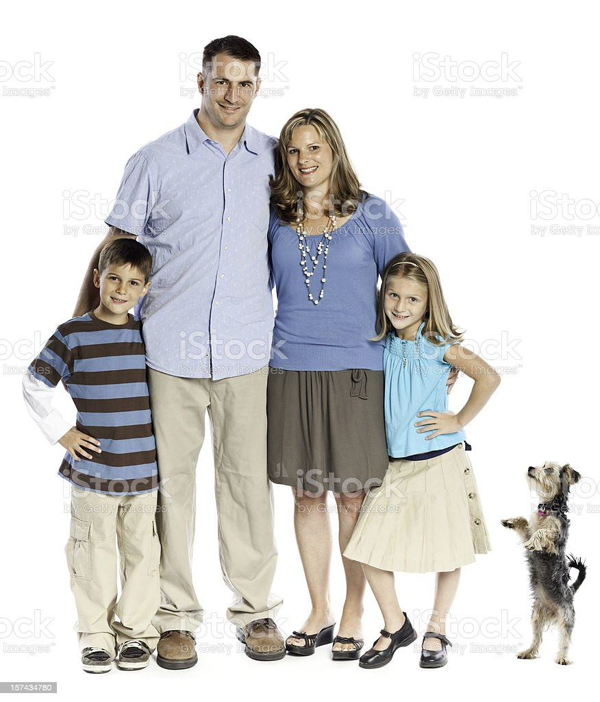 Isolated Portrait of a Family royalty-free stock photo