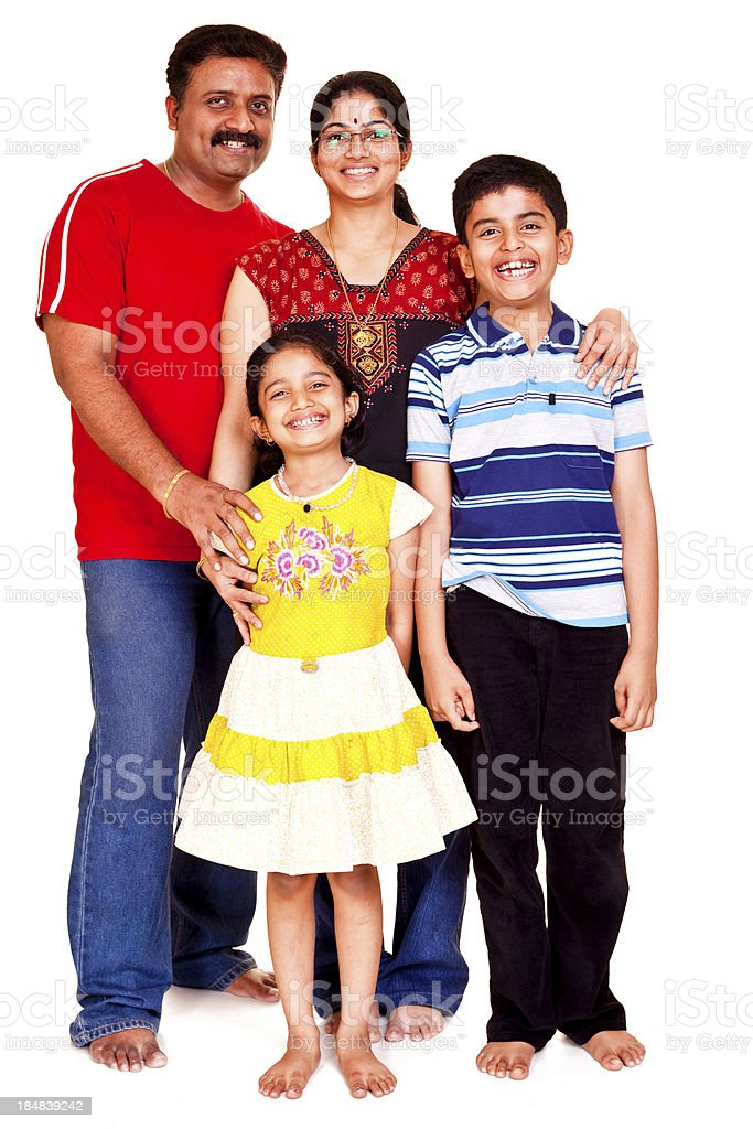 Isolated portrait of a South Indian family royalty-free stock photo