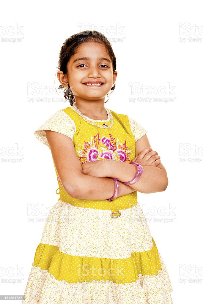 Isolated Portrait of Indian Little Girl on White Background stock photo