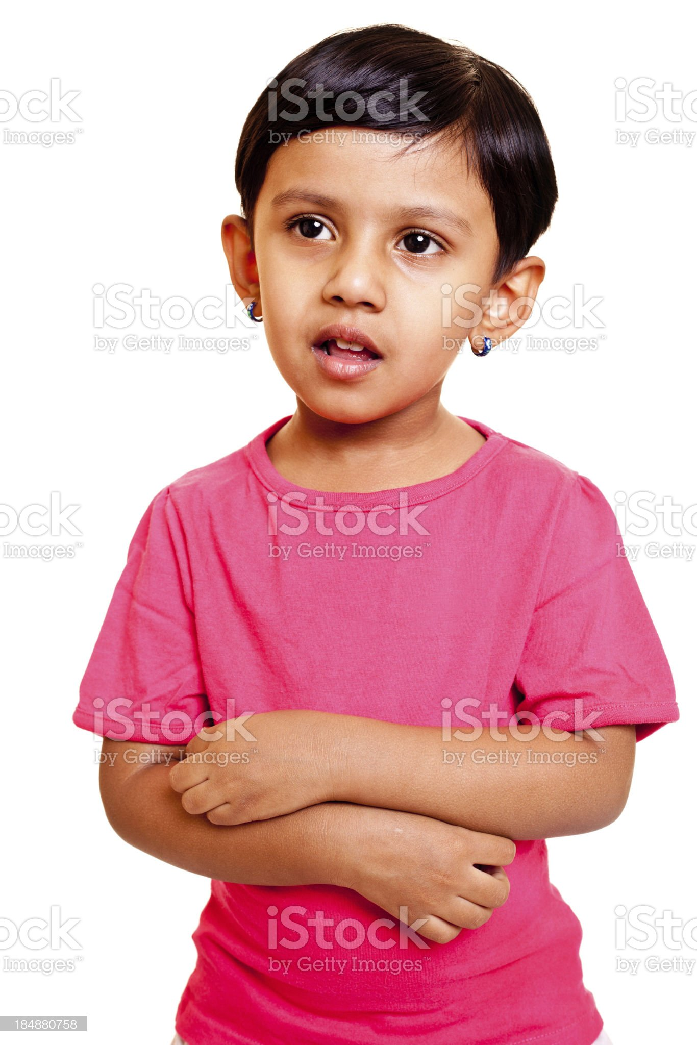 Isolated Portrait of little Indian girl royalty-free stock photo