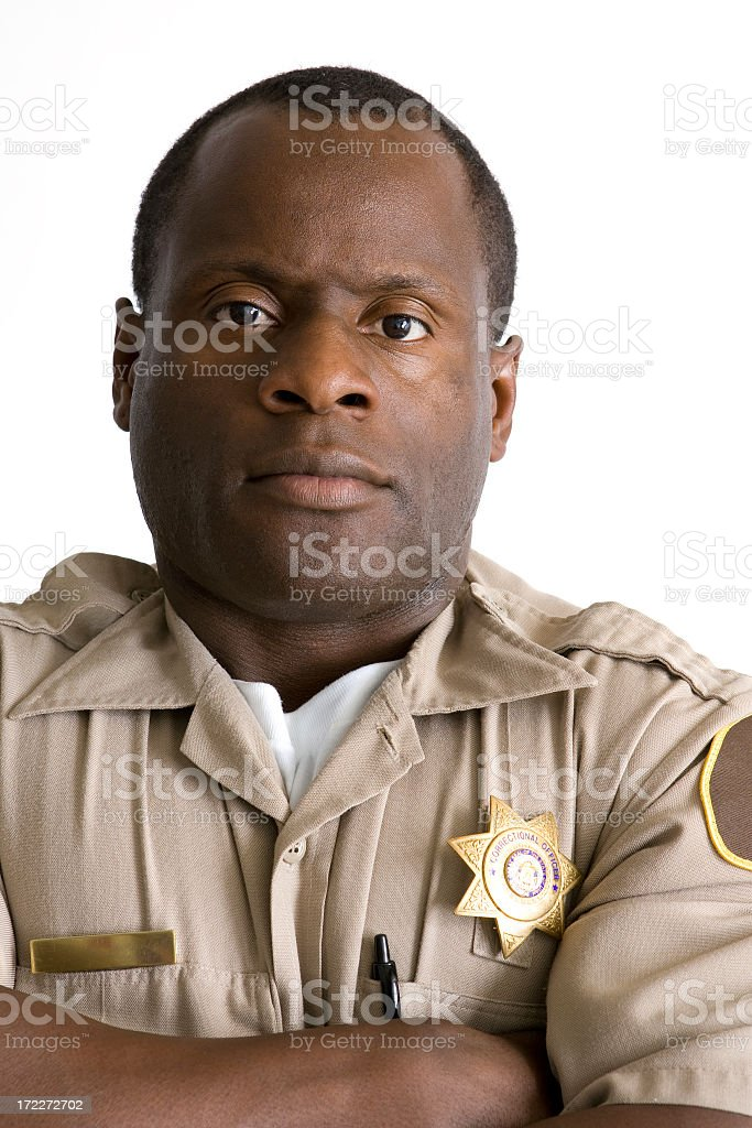 Isolated Portraits-African American Law Enforcement Officer stock photo