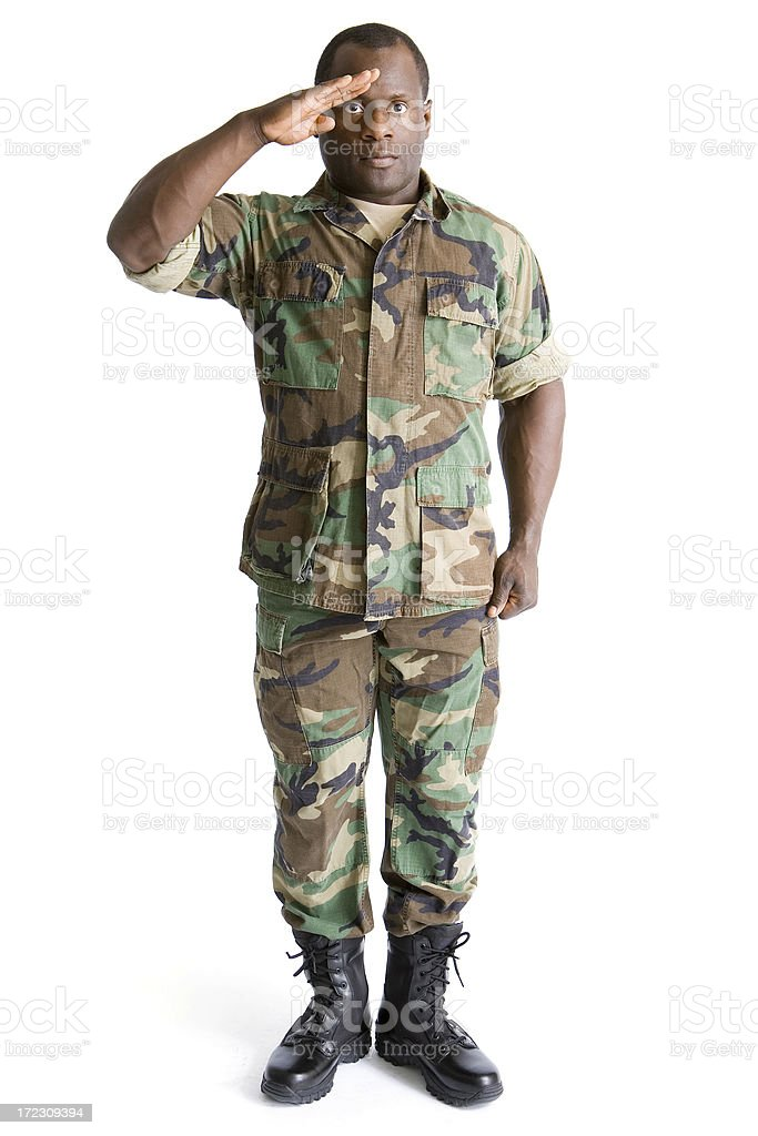 Isolated Portraits-African American Soldier stock photo