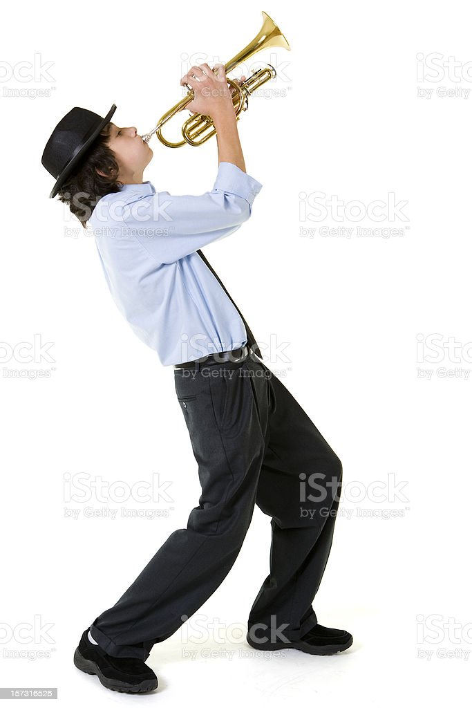 Isolated Portraits-Boy Playing Trumpet stock photo