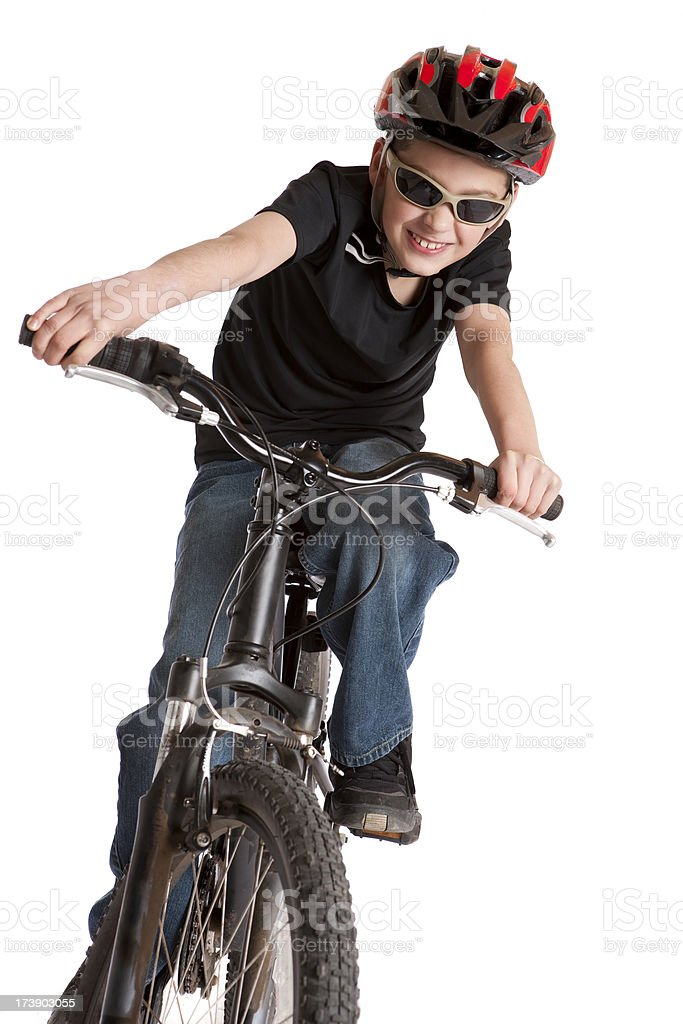 Isolated Portraits-Boy Riding Bicycle stock photo