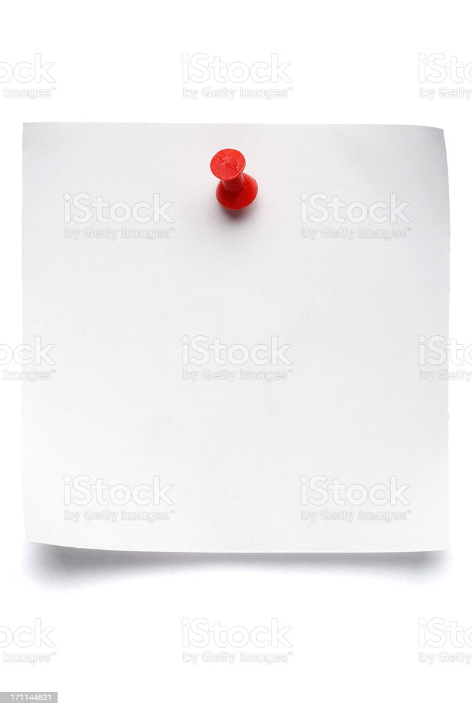 isolated postit with Push Pin stock photo