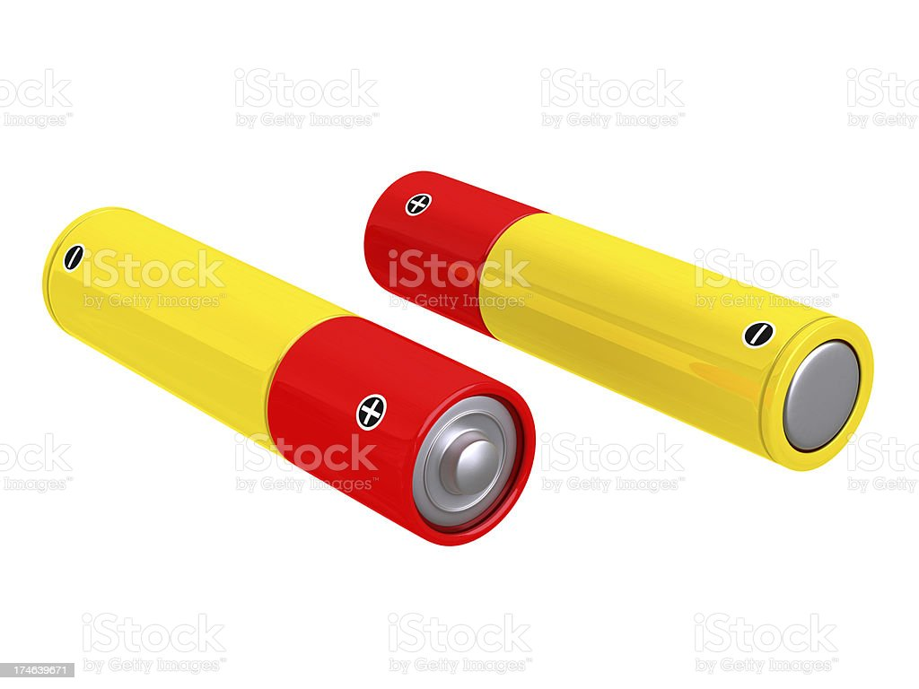 Isolated power batteries stock photo