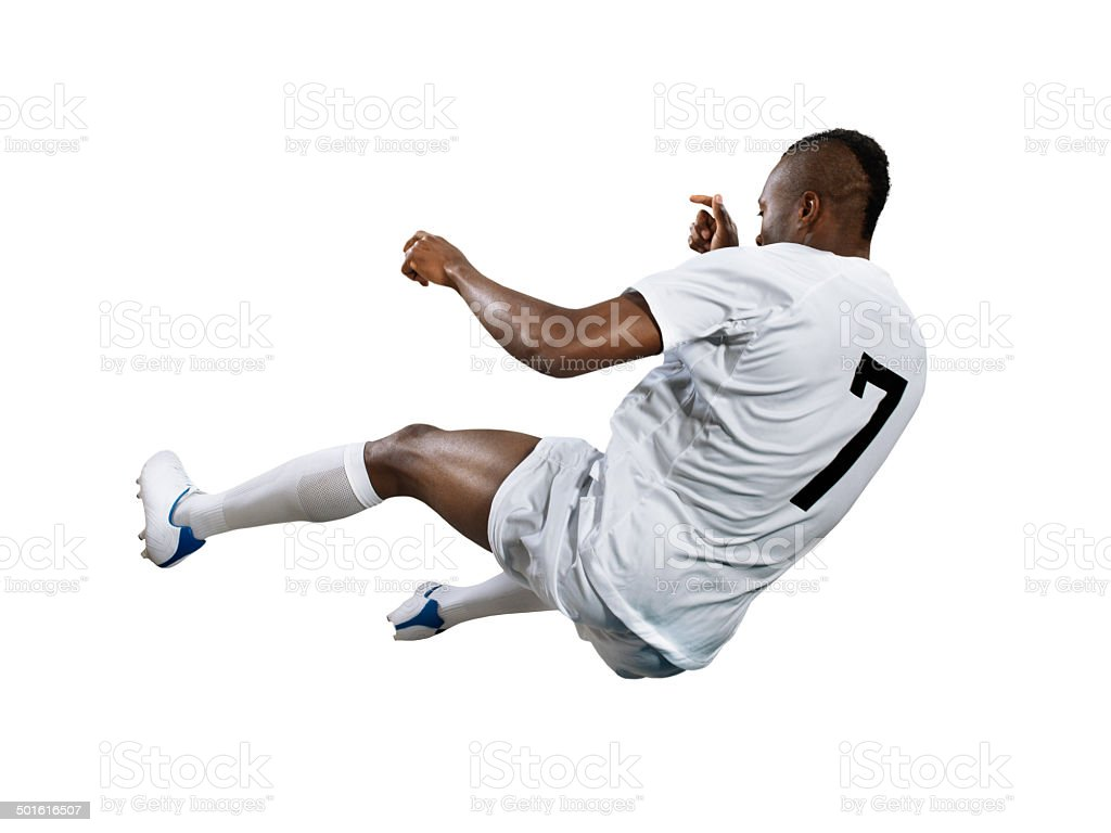 Isolated professional football player in action royalty-free stock photo