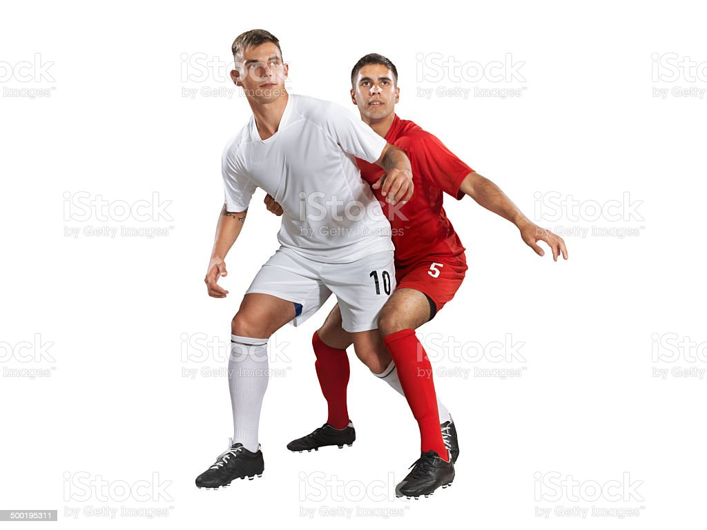 Isolated professional football players in action royalty-free stock photo
