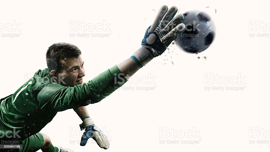 Isolated professional soccer goalkeeper in action stock photo