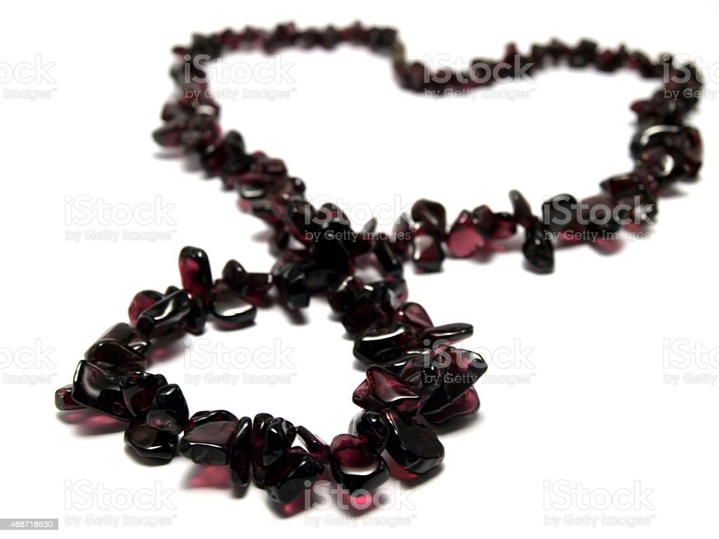 Isolated purple garnet necklace heart shaped stock photo