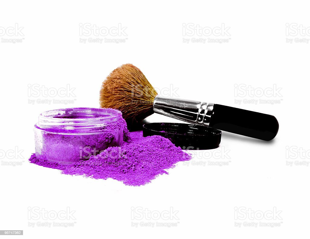 Isolated Purple mineral make-up with brush royalty-free stock photo