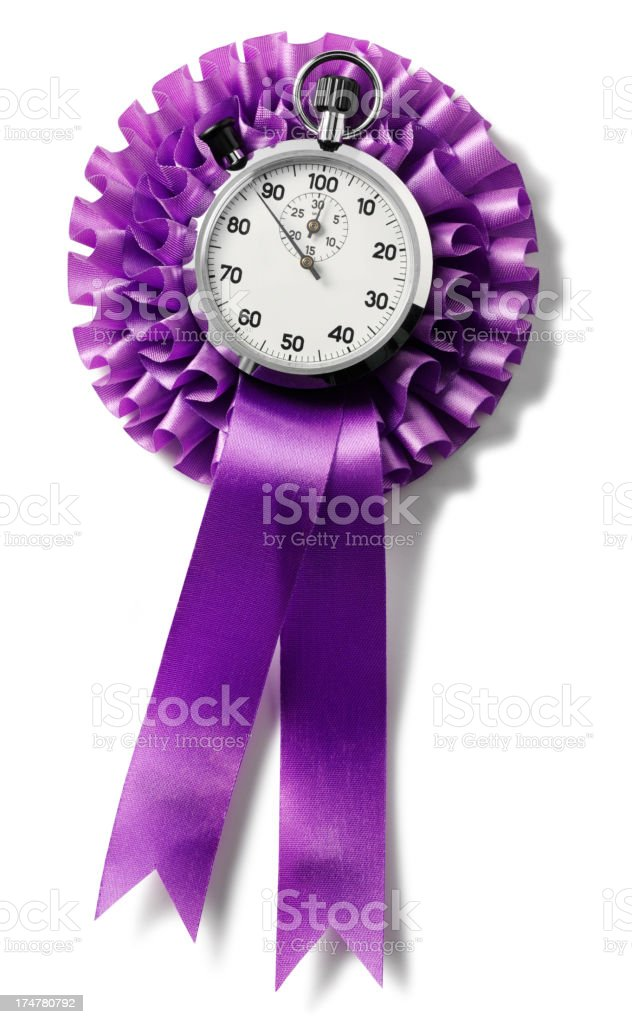 Isolated Purple Rosette Ribbon with a Stopwatch royalty-free stock photo