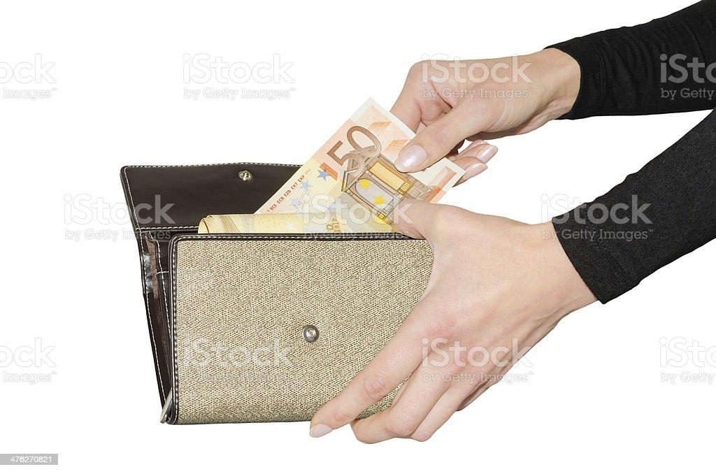 Isolated purse with bundle of euro money royalty-free stock photo