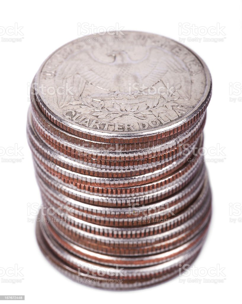 Isolated Quarter Dollar Coin Stack royalty-free stock photo
