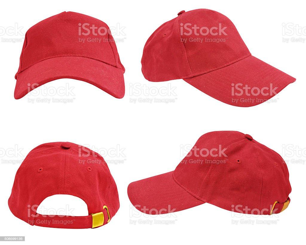 Isolated rad baseball cap stock photo
