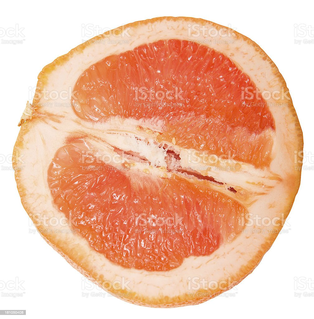 Isolated Raw half Grapefruit with clipping path royalty-free stock photo