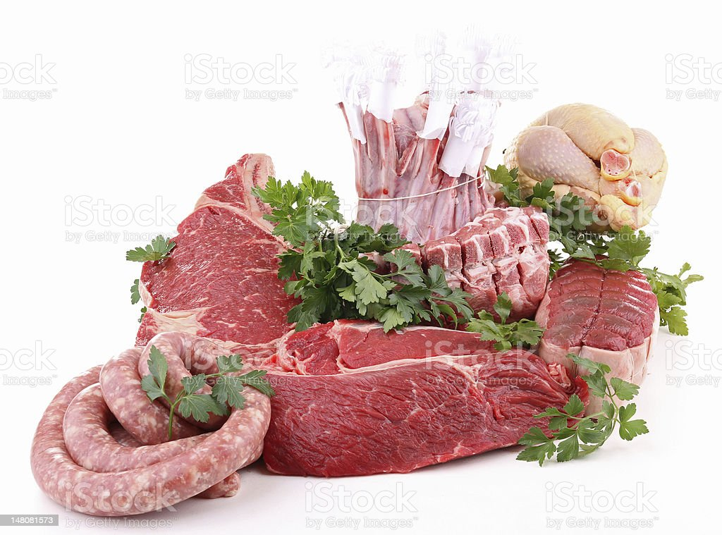 isolated raw meats royalty-free stock photo