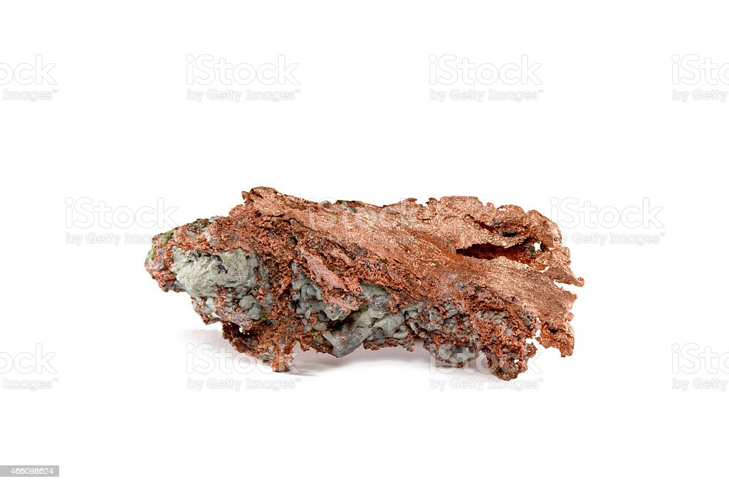 Isolated Raw or Native Copper Nugget stock photo