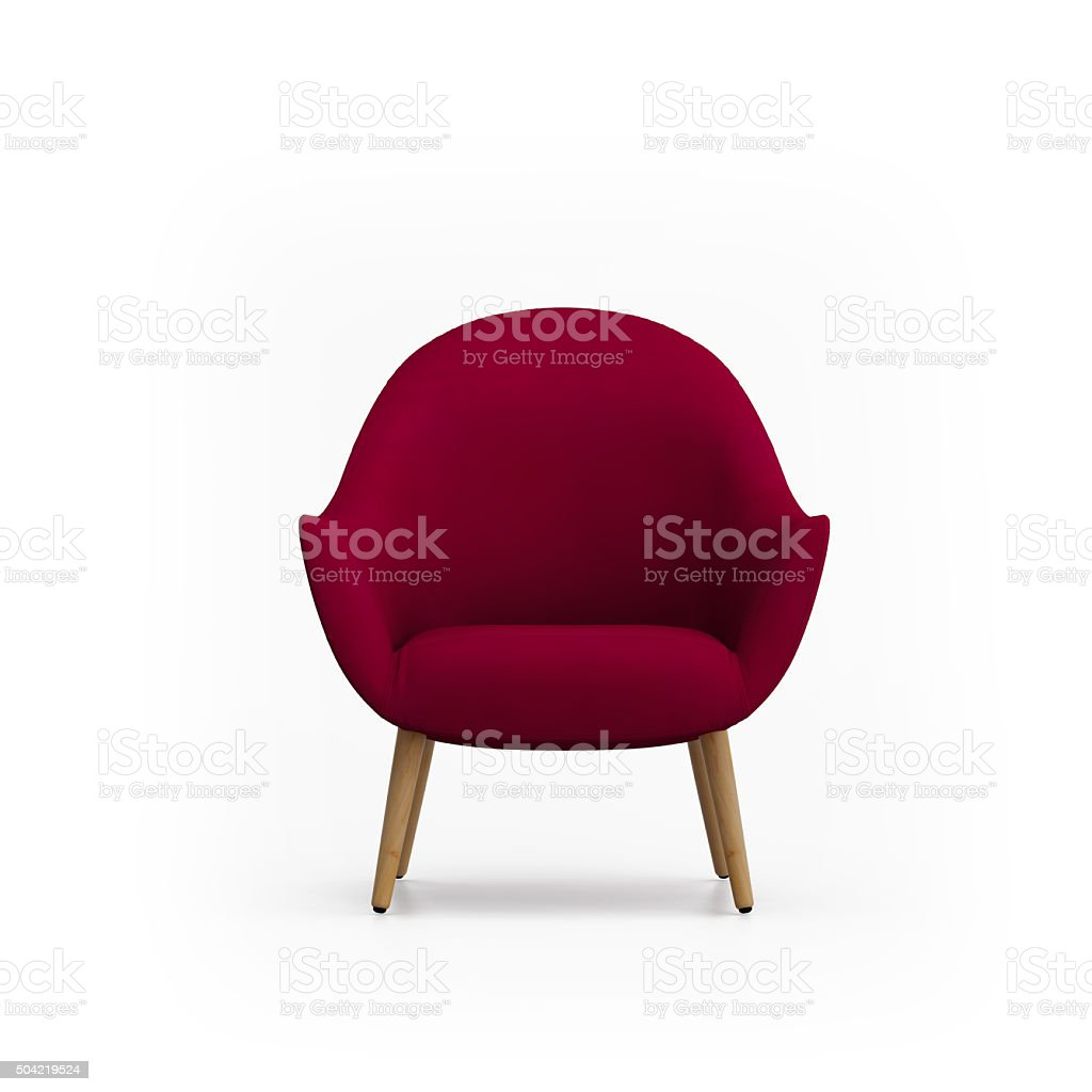Isolated red armchair stock photo