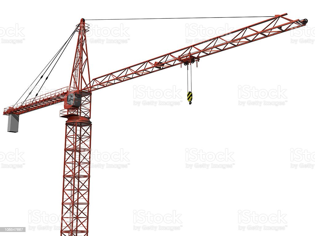 Isolated red crane on a white background royalty-free stock photo