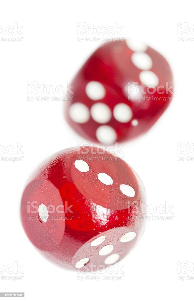 Isolated red dices royalty-free stock photo