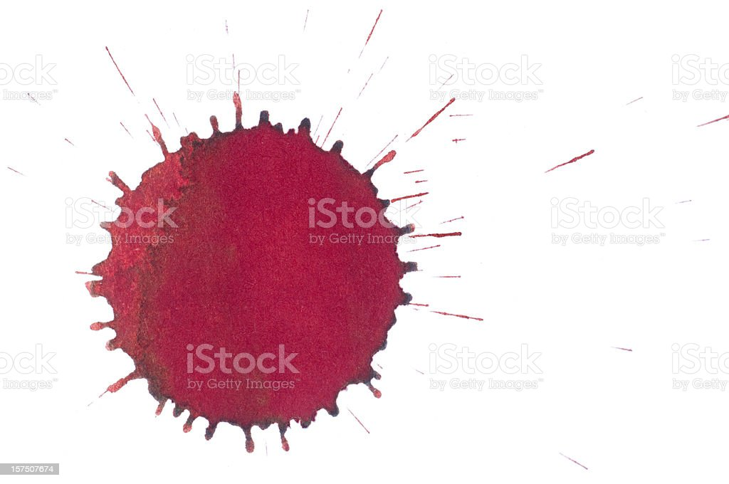 Isolated red ink splatter drop close-up stock photo